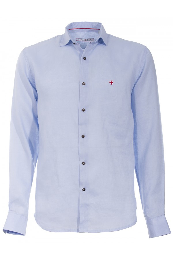 Camicia Canottieri Portofino lino croce cuore azzurro