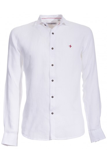 Chemise Canottieri Portofino en lin avec logo Homme blanc