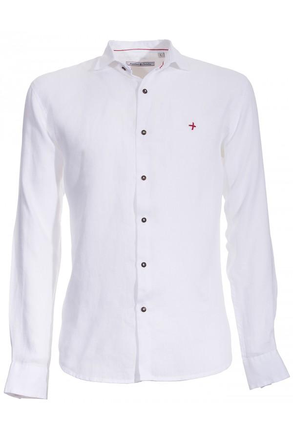 Camicia Canottieri Portofino lino croce cuore bianco