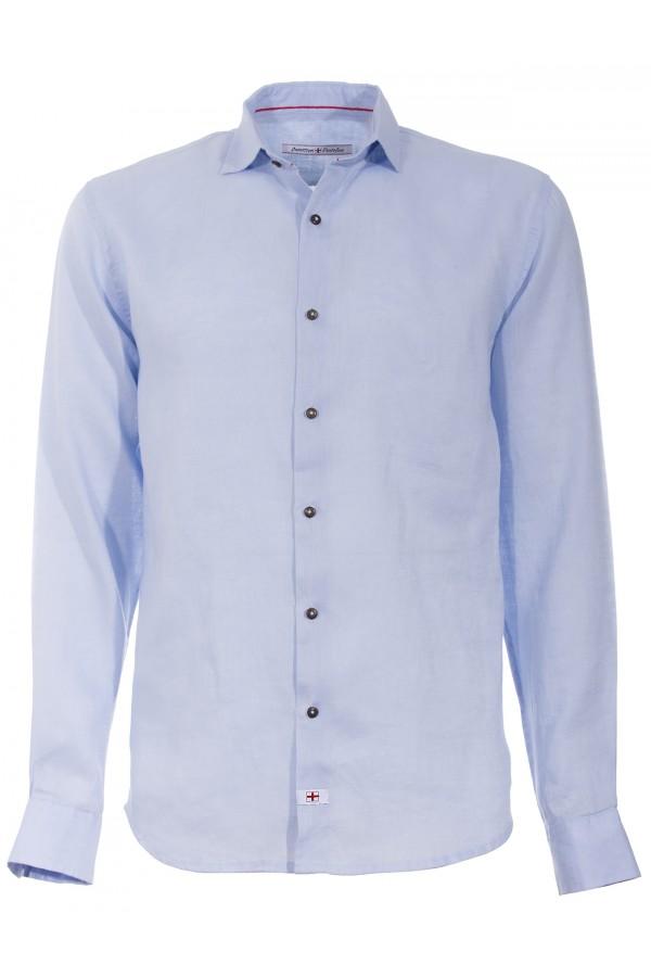 Camicia Canottieri Portofino lino croce azzurro