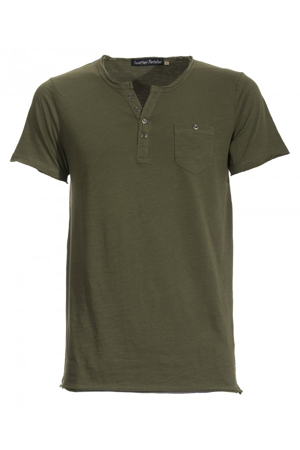 T-shirt Canottieri Portofino with buttons Man green
