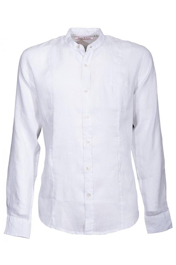 Camicia Canottieri Portofino alla coreana con logo Uomo bianco