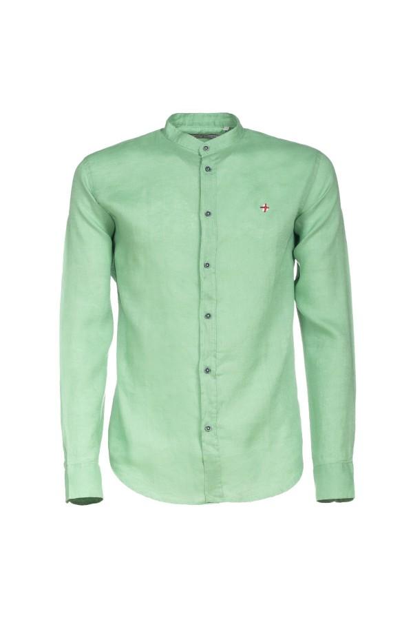 Camicia Canottieri Portofino in lino collo coreana Verde