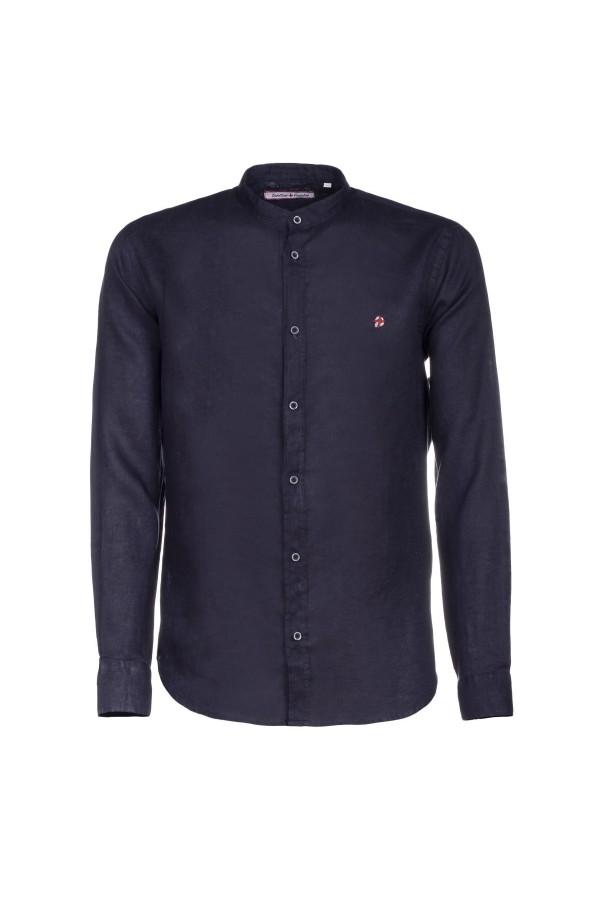 Camicia Canottieri Portofino in lino collo coreana Blu