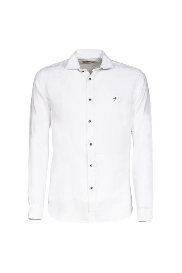 Camicia Canottieri Portofino in lino collo coreana Bianco